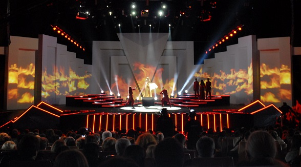 Bulgarian national Eurovision final 2012 dressed in J&C Joel fabrics.